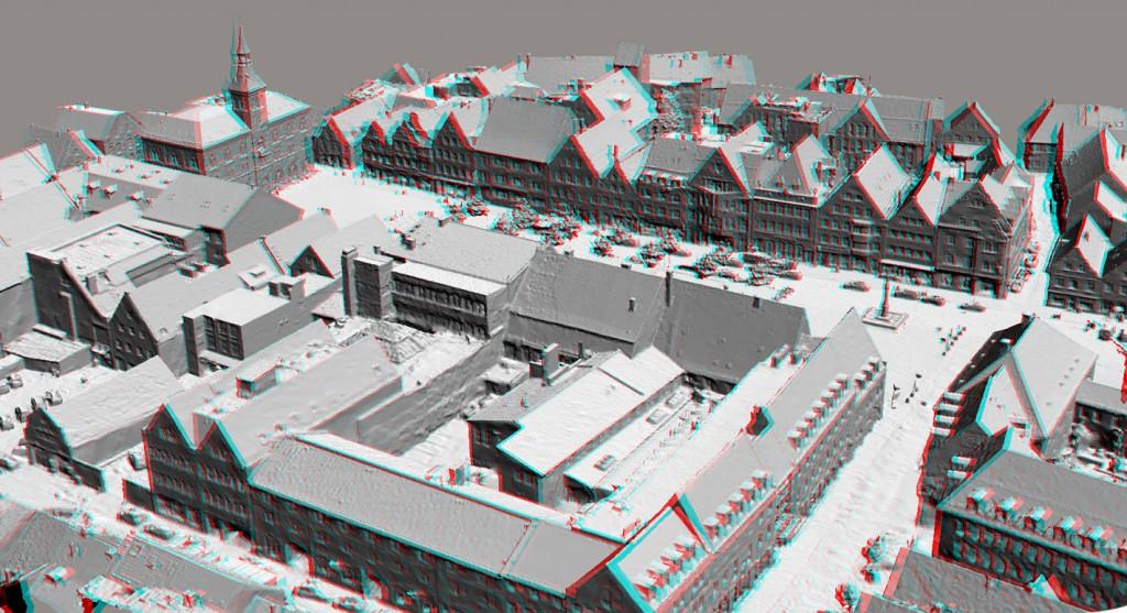 Ansicht Modell ohne Textur in 3D (Rot/Grün-Brille)